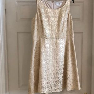 Jessica Simpson Ivory and Gold Dress size 14
